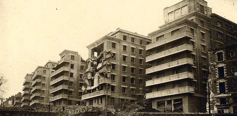 L'Hermitage après les bombardements de 1944
